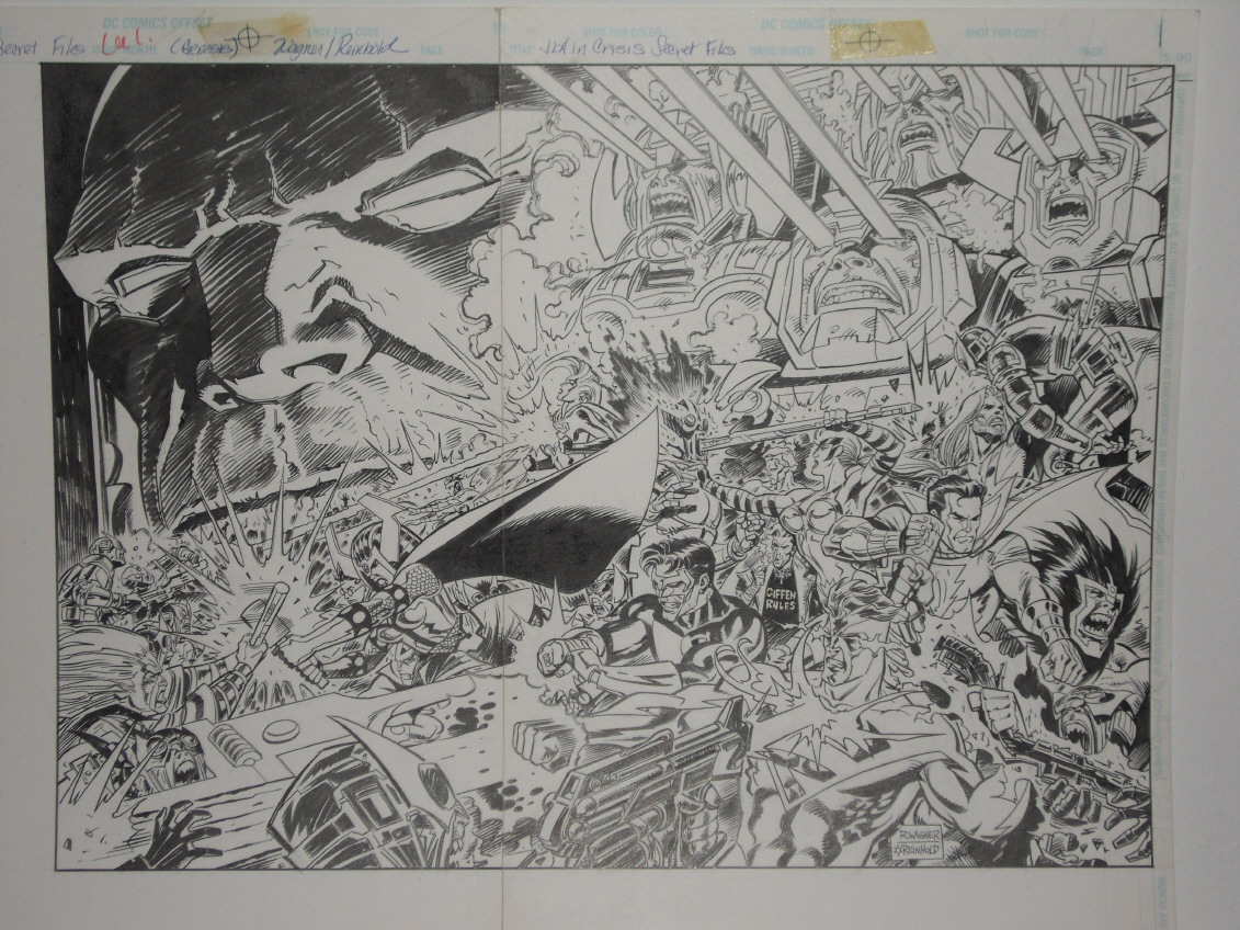 GREEN GALLERY JLA_in_Crisis_Secret_Files__1_double_page_splash_by_Ron_Wagner