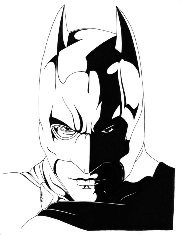 GREEN GALLERY Batman_Begins_Portrait_Original_Drawing_Art