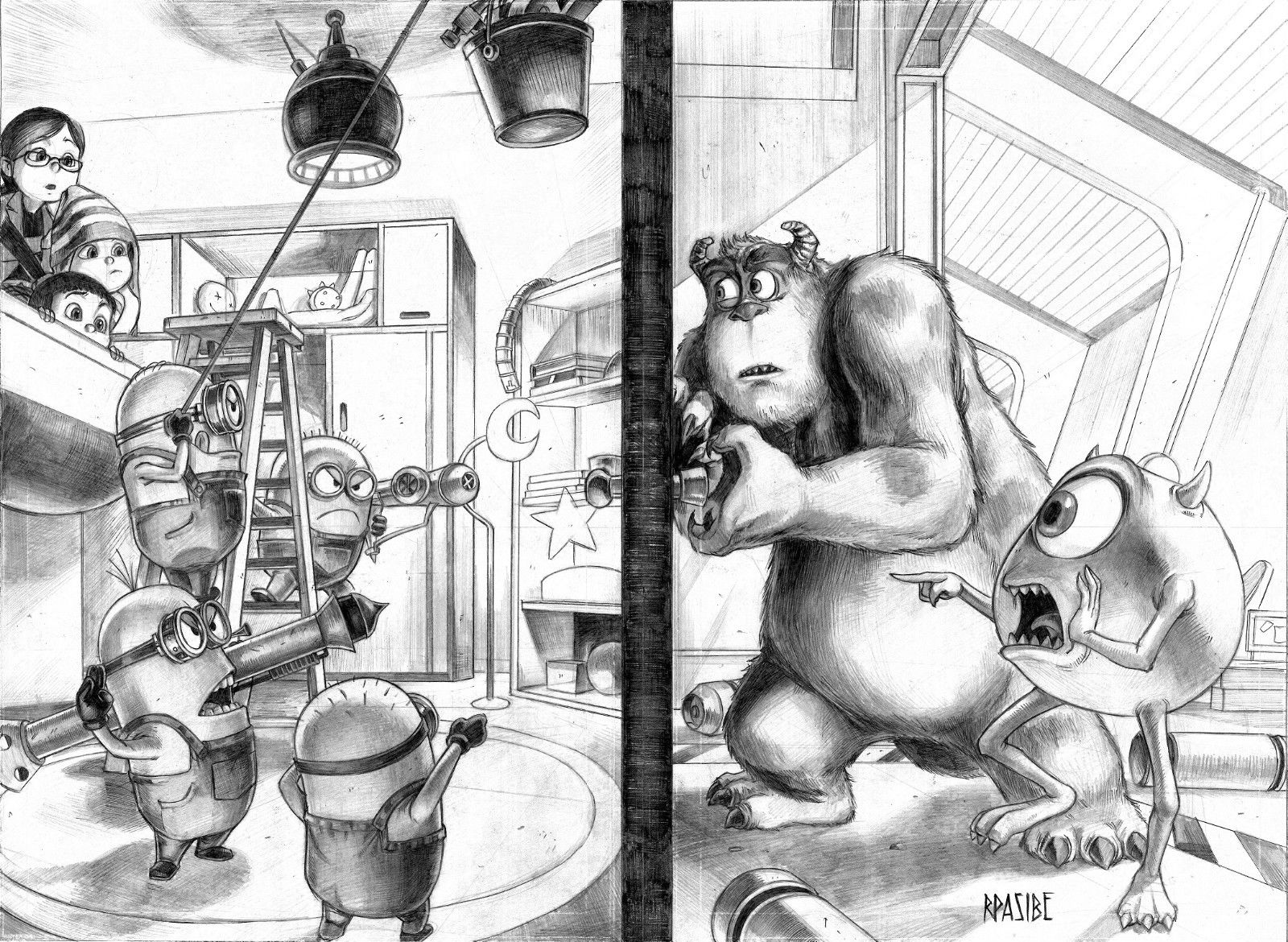 GREEN GALLERY - Page 17 Despicable_Me_Minions_vs_Monsters_Inc_Sulley_and_Mike_Original_Art