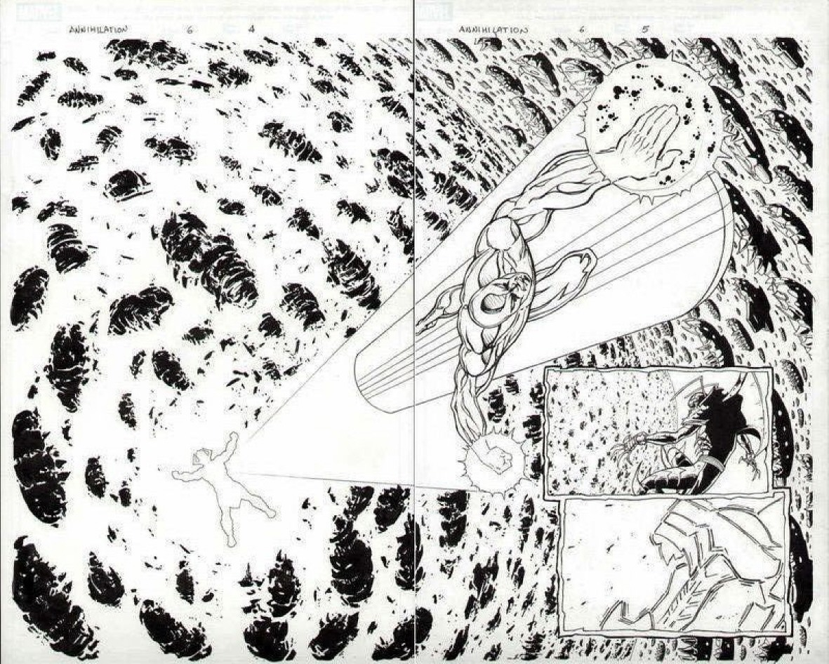GREEN GALLERY - Page 3 SILVER_SURFER_GALACTUS_MARVEL_ANNIHILATION__6_DIVITO_ORIGINAL_ART_2_PAGE_SPREAD