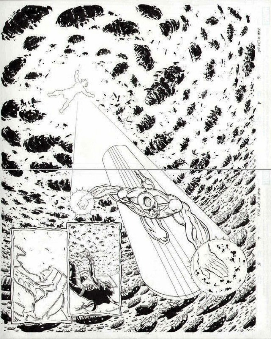 GREEN GALLERY - Page 3 SILVER_SURFER_GALACTUS_MARVEL_ANNIHILATION__6_DIVITO_ORIGINAL_ART_2_PAGE_SPREAD_2