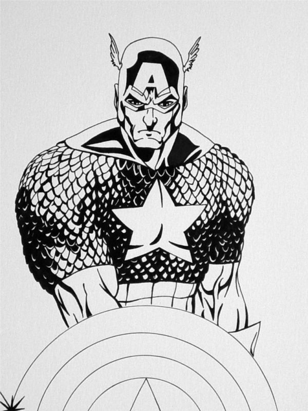 GREEN GALLERY Captain_America_Original_Drawing_Art