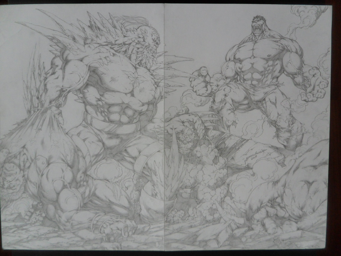 GREEN GALLERY - Page 2 Jose_luis_comm_darkeseid_vs_hulk_chose_rhino_fleau