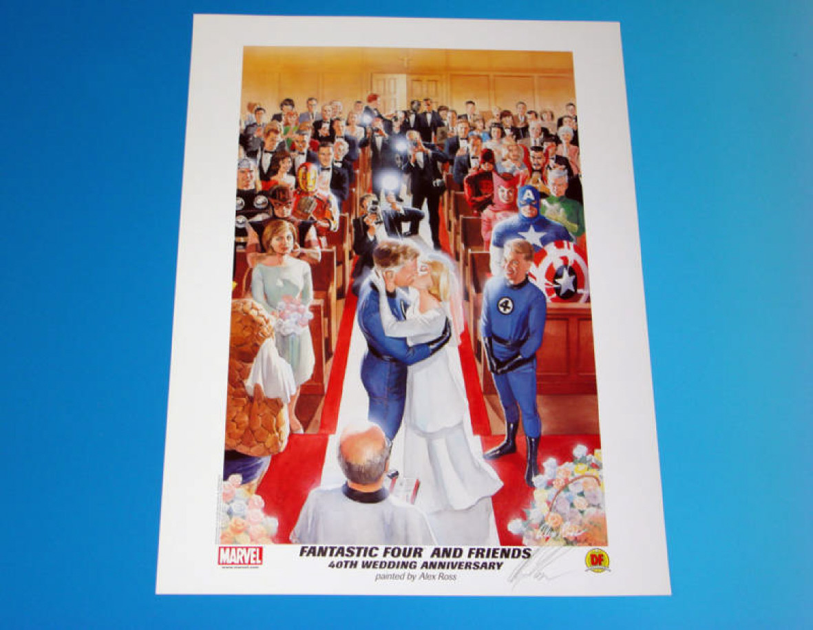 GREEN GALLERY FANTASTIC_FOUR_Wedding_Anniversary_Lithograph_by__ALEX_ROSS