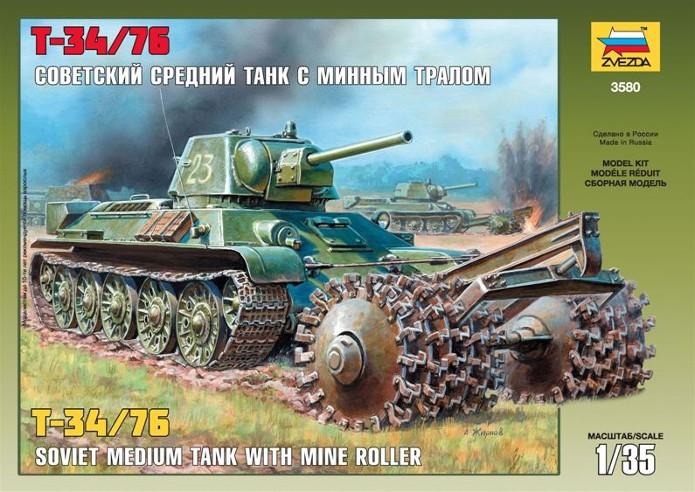 T-34 76mm Mle 43 rouleaux déminage 1/35 Zvezda FINI 3580