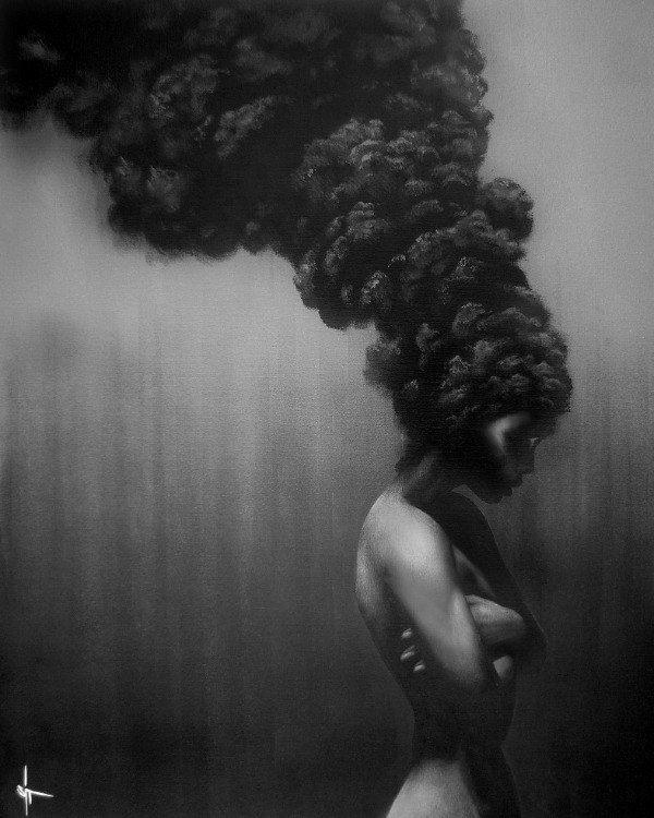 Страх в картинках - Страница 3 African-woman-afro-of-fire-smoke-beautiful-portrait-feminine-female-nude-art