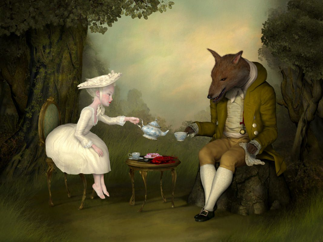 Pittura e scultura - Pagina 4 A-pale-and-beautiful-girl-serves-tea-to-a-dog-headed-man-in-this-surrealist-painting-by-Ray-Caesar