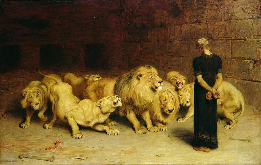 Pittura e scultura - Pagina 4 Daniel-in-the-lions-den-briton-riviere