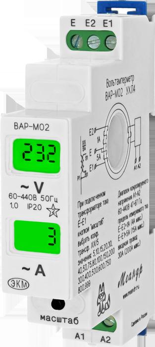 Одномодульный вольтметр-амперметр на DIN рейку - ВАР-М02  Var_m02