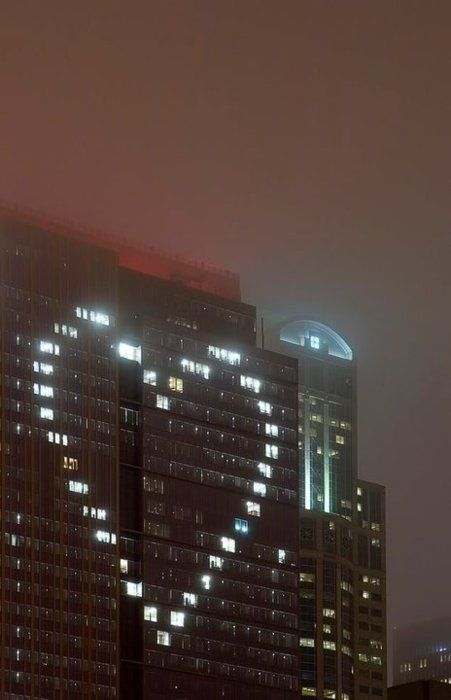 Clever Janitors! If you could do this with office lights on a building, what would you do?