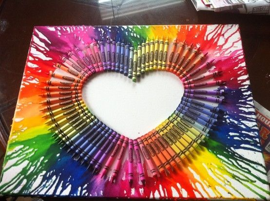 Use your imagination, the sky is the limit - Just need a canvas, hot glue gun, box of 64 crayons and a hair drier!