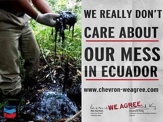 Pollution en Équateur : amende historique pour le géant pétrolier Chevron Chevron-equateur-activisme-yes-men-L-O5OBNT