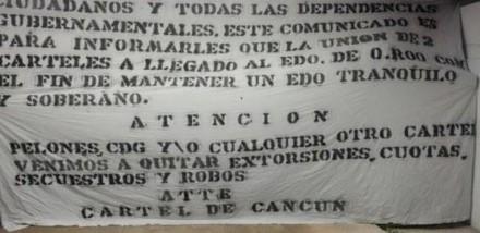 """Advierten en narcomanta llegada del nuevo """"Cártel de Cancún"""" a Quintana Roo MANTA-440x214"""
