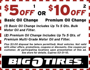 Big O Tires Oil Change Service Alignment Coupons
