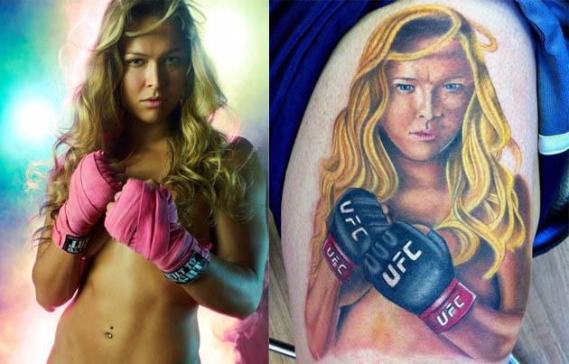God awful Ronda Rousey tattoo. ROuseyAndTat