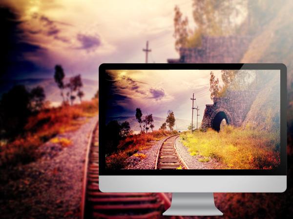 ரயில் தண்டவாளங்களின் அழகிய புகைபடங்கள்  Sunset-nature-railroad