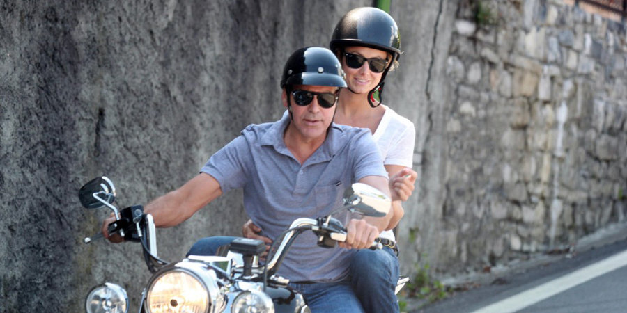 Here's Proof That Clooney Only Gets Better With Age - Page 2 George-Clooney-Stacy-Keibler-Riding-Motorcycle-Italy