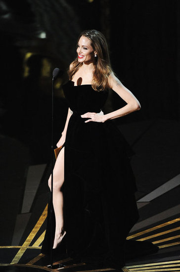 Oscar 2012 best dressed Angelina-Jolie-Showing-Her-Leg-While-Presenting-2012-Oscars