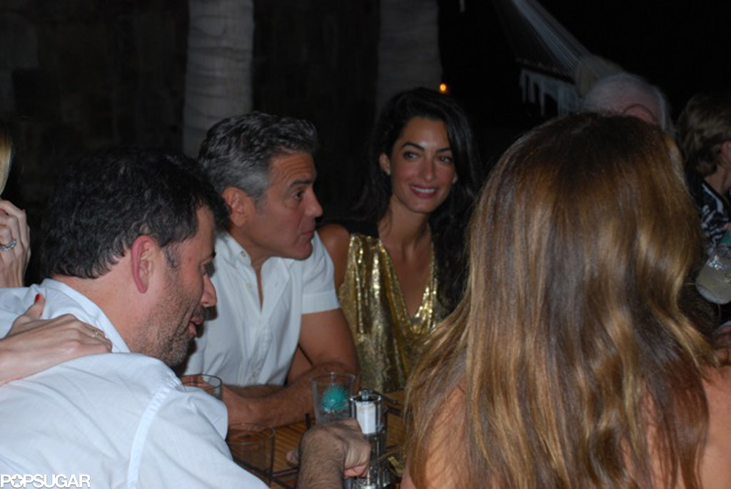 George Clooney in Cabo Two-had-group-dinner-friends