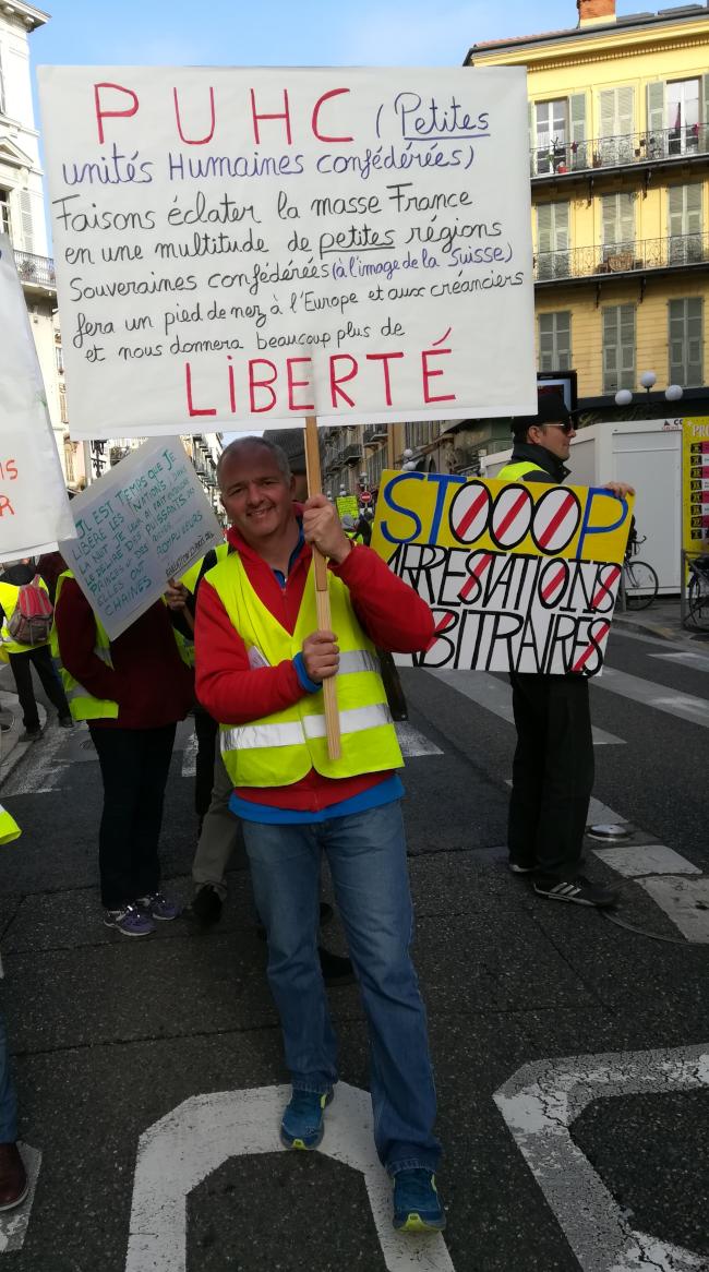 Les gilets jaunes et les Pèlerins d'Arès Nice-23-02-2019