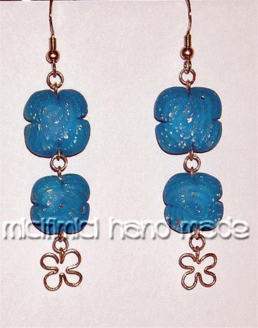 orecchini in fimo, da quando ho iniziato ai più recenti... Orecchini-fiori-azzurri