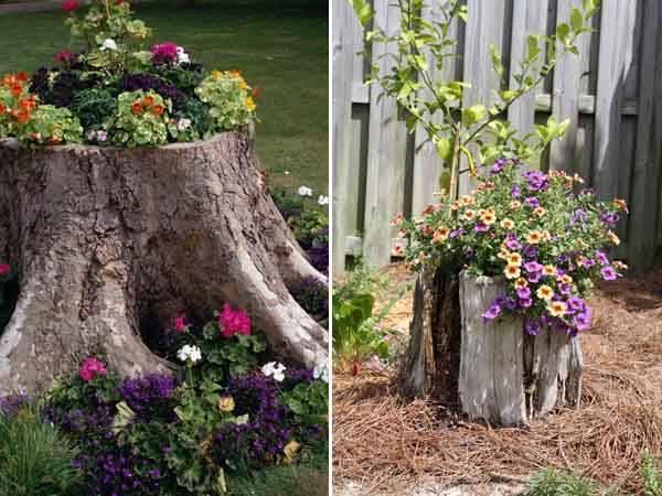 19 оригинальных, простых и дешёвых идей для дачи 3-ways-to-decorate-old-tree-stumps-in-garden-11