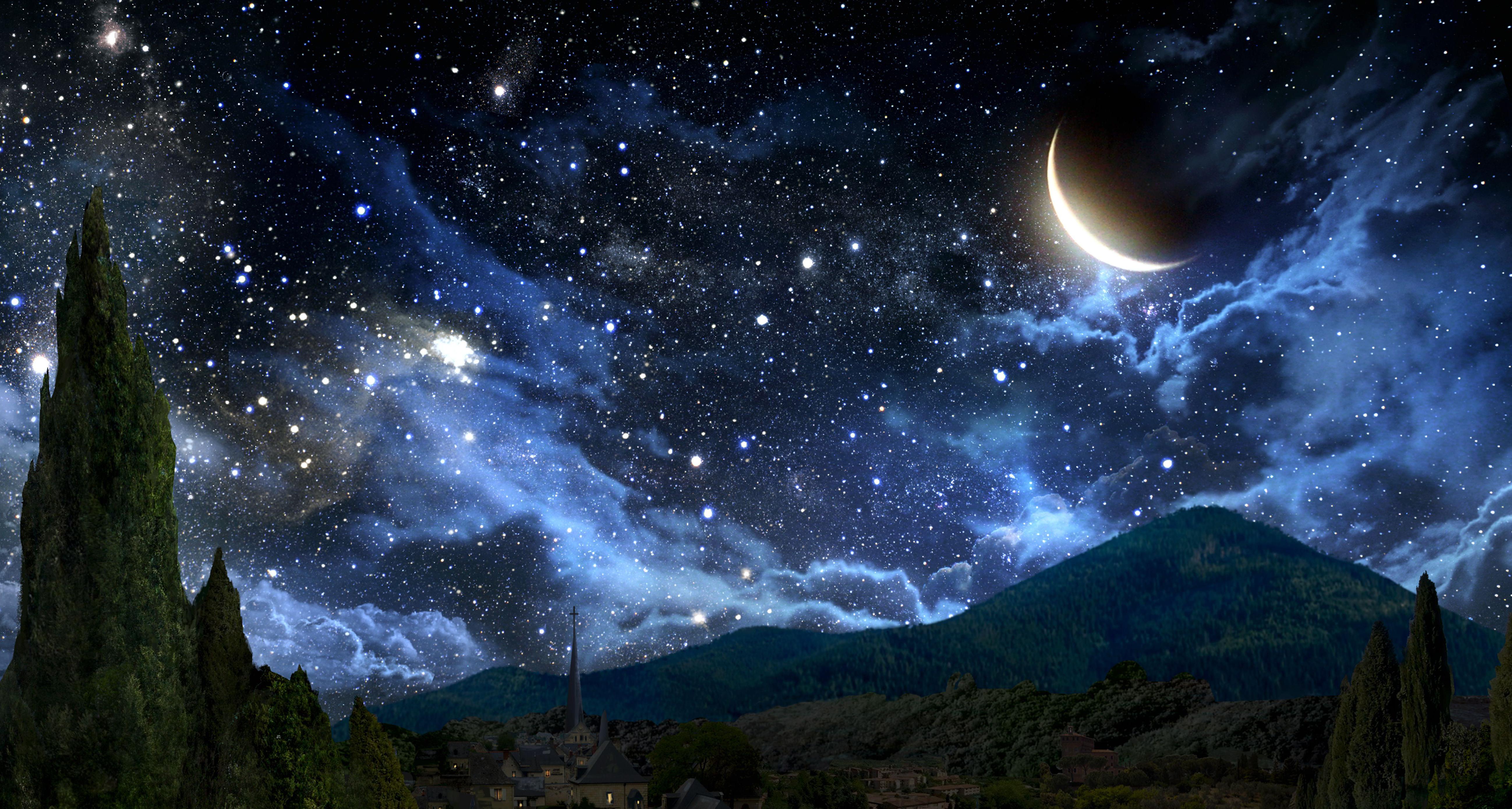 La Historia del Caballero de la Luz Pintor-cielo-de-noche-paisaje-mes-estrellas-nubes-sierra-prado-182814