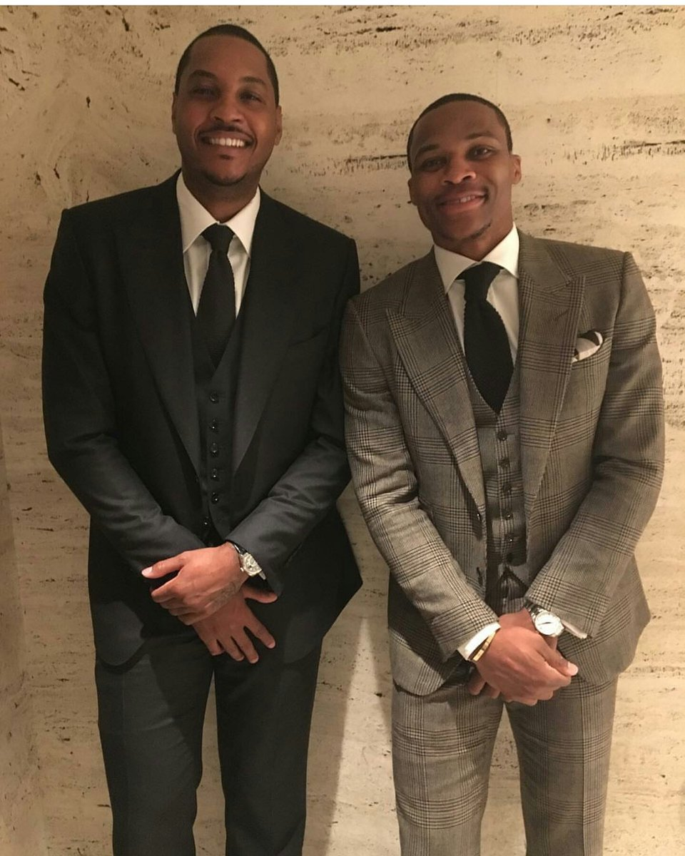 ¿Cuánto mide Carmelo Anthony? - Altura - Real height Carmelo-anthony-russell-westbrook-tom-ford-aw16-new-york-fashion-week-tom-ford-suits-lala-instagram