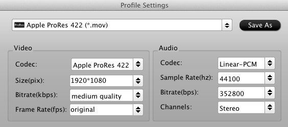 FCP - Sony XDCAM Transfer to Final Cut Pro 6/7/X Video-converter-settings-prores