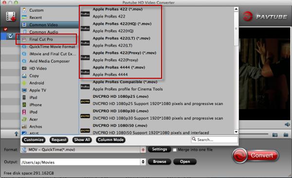 Convert Sony A7II XAVC S to MOV/AVI/MPEG-2/WMV/DNxHD/AIC on PC/Mac  Choose-format-to-apple-prores3