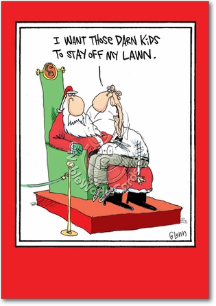 MERRY CHRISTMAS 5792-kids-off-the-lawn-funny-cartoons-merry-christmas-card