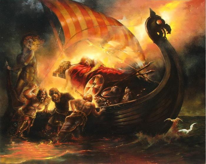 Les dieux et déesses Viking Balder_funeral