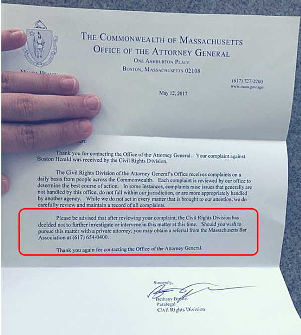"""Massachusetts Attorney General says it's okay for mainstream media to publish death threats against """"anti-vaxxers"""" Letter-Office-of-the-Attorney-General-Boston-Herald-600"""
