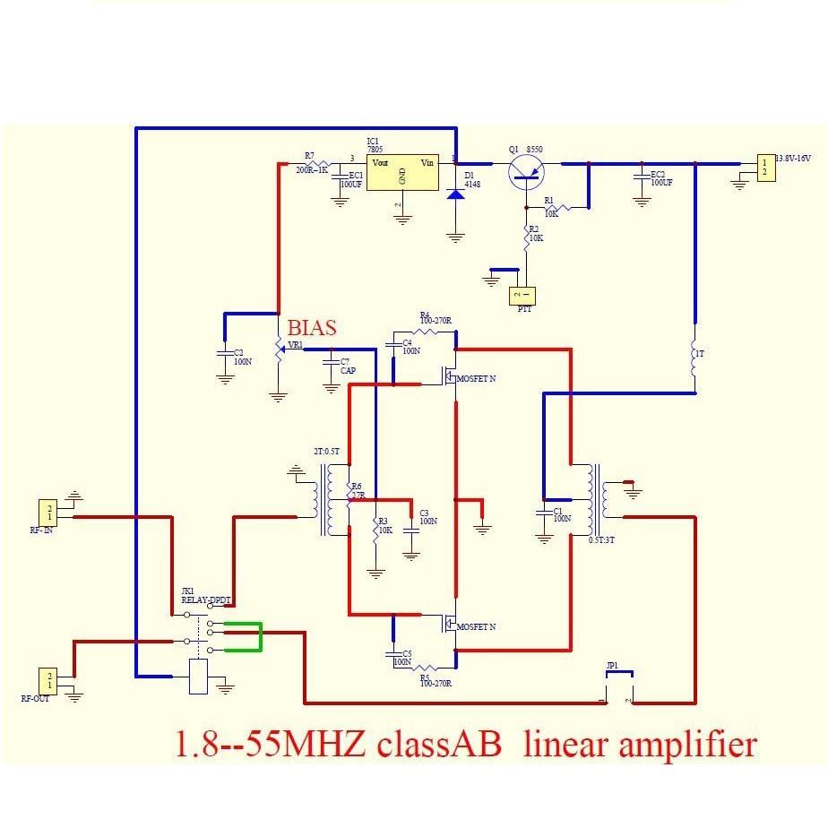 Amplificateur 100W pour poste QRP (KX3, FT817, etc...) à 30 euros environ Schema