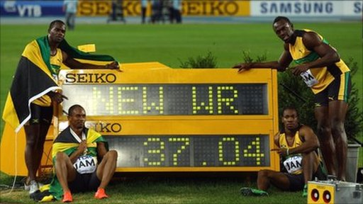 Jamaica breaks its own 4 x 100m relay world record _55152427_55150187