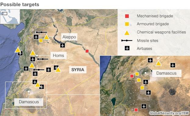 ماهي الأسلحة التي قد تستخدم في سوريا؟ - صفحة 3 _69623607_syria_targets_03_09_624