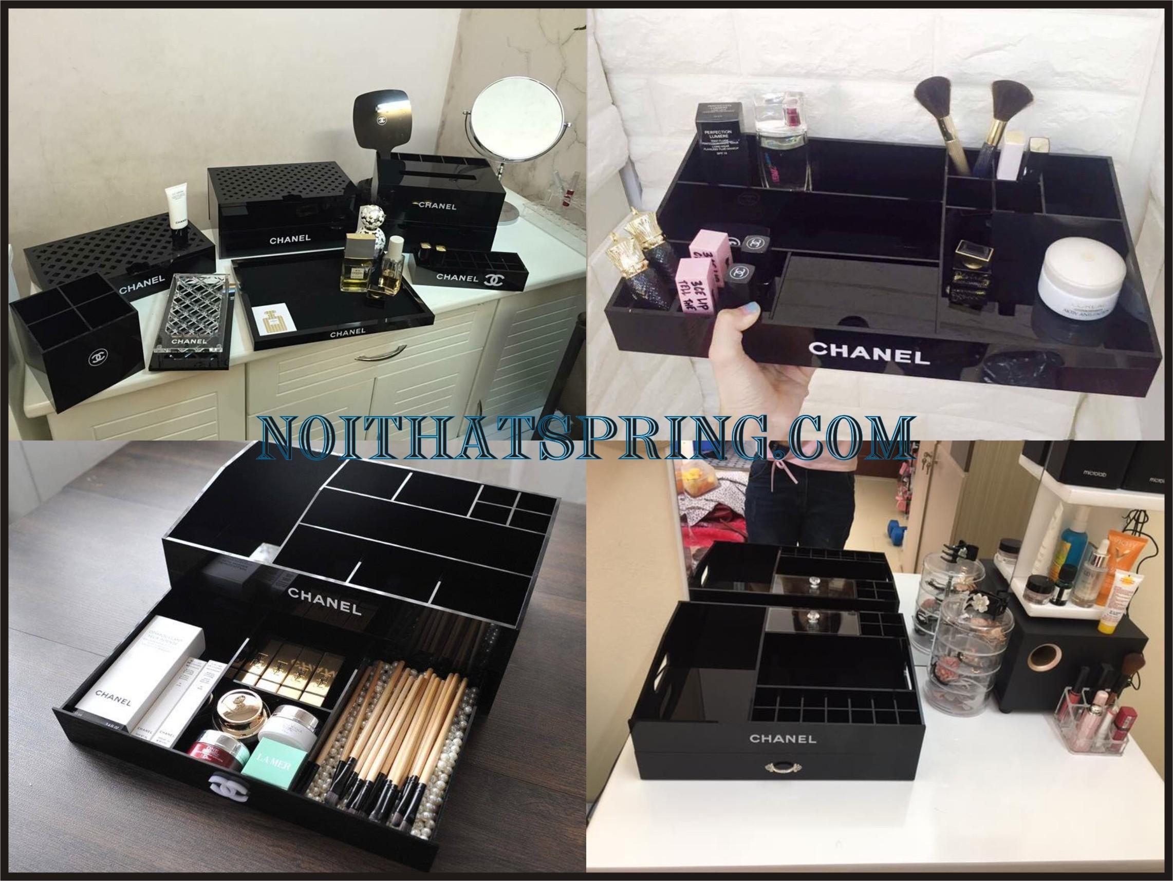 Nước hoa, mỹ phẩm: Khay Son Chanel, Hộp Chanel Đựng Mỹ Phẩm, Kệ Trang Điểm Chane Ke%20my%20pham5