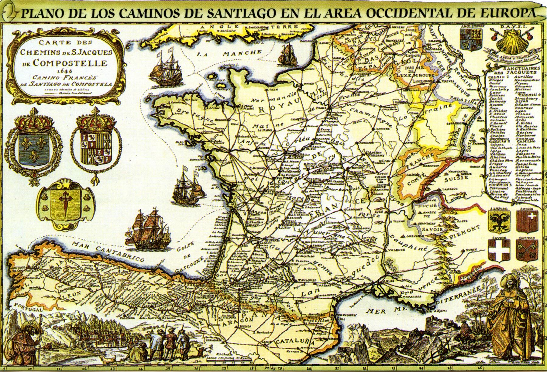 Stare geografske mape i karte - Page 6 CaminosSatniagoOldMap
