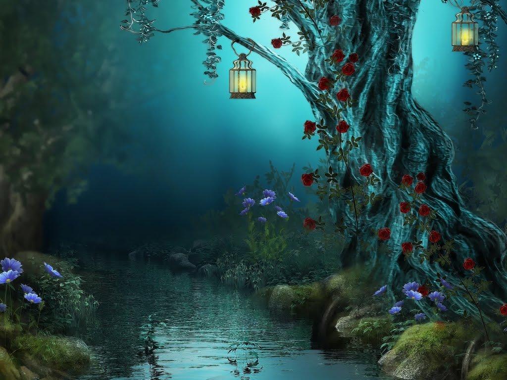 &&&&Un mundo de fantasia y ilusion&&&& Paisaje_fant_stico_con_rio_flores_y_linternas_la_magia_de_la_fantasia1