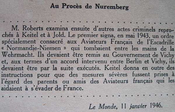 Attitude des Allemands vis-à-vis du Normandie-Niemen Nuremberg