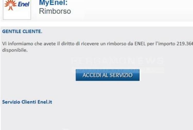 La mail-truffa con il rimborso Enel. La polizia: non aprite quel messaggio Enel.jpg_997313609