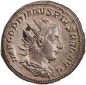 Antoniniano de Gordiano III. P M TR P V COS II P P. Apolo, ceca de Roma. 1944.100.18292.obv.width175