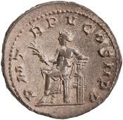 Antoniniano de Gordiano III. P M TR P V COS II P P. Apolo, ceca de Roma. 1944.100.18292.rev.width175