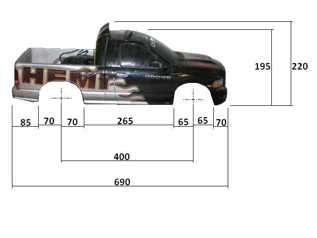 Dimensions des carrosseries 1/6 New Bright Cotes_Dodge_Cote