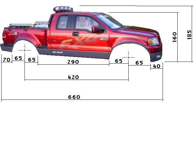 Dimensions des carrosseries 1/6 New Bright Cotes_FX4_Cote