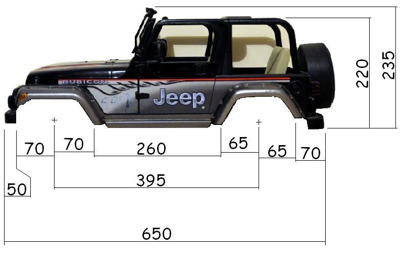 Dimensions des carrosseries 1/6 New Bright Cotes_Jeep_Cote
