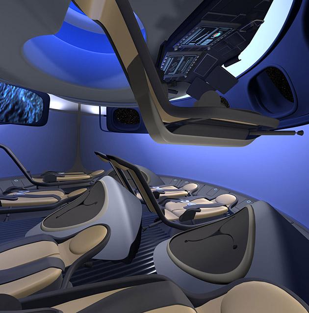 2014: Boeing présente son concept de vaisseau spatial CST100-Commercial-Interior