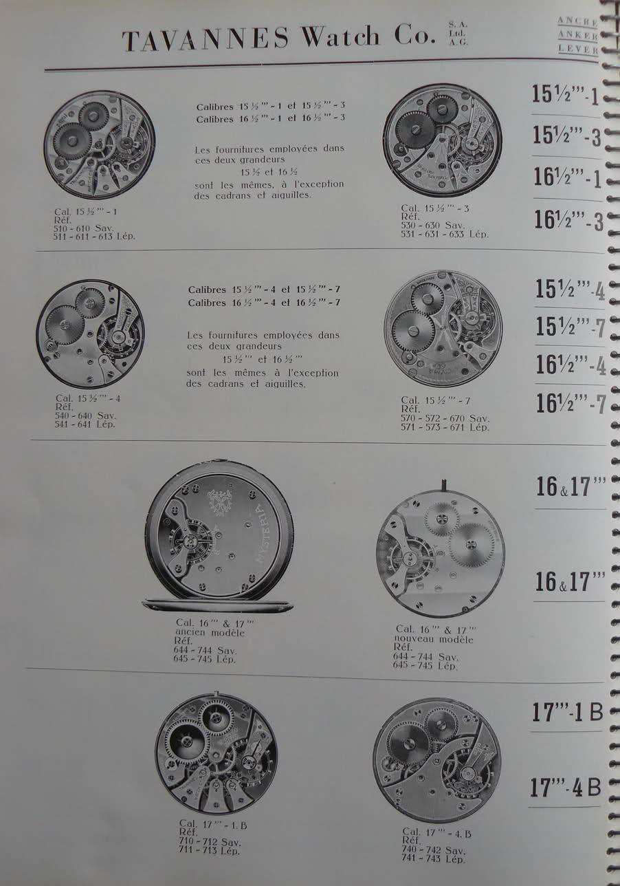 Calibres Tavannes Extrait de la Classification Horlogère 1936 2dqlmp1