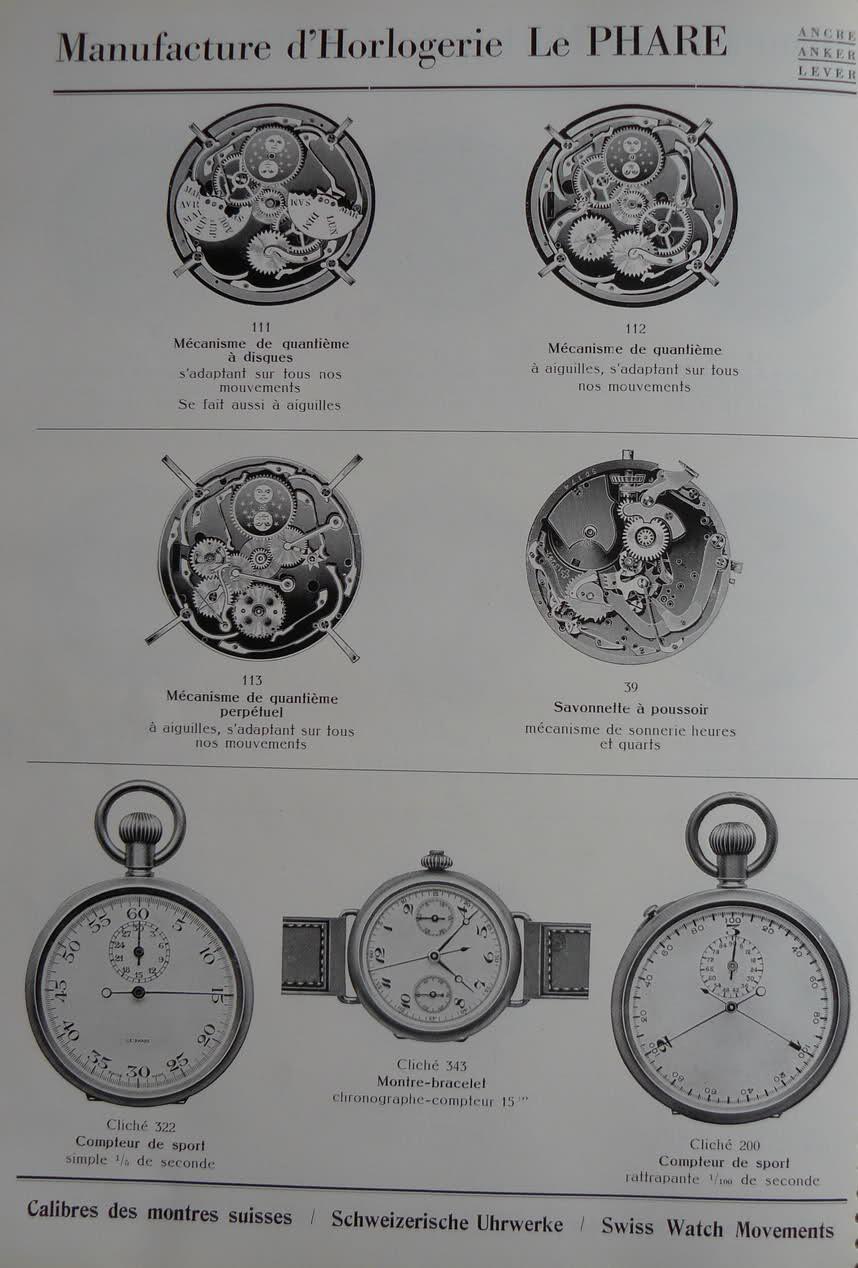 Calibres Le Phare Extrait de la Classification Horlogère 1936 Anmxd4