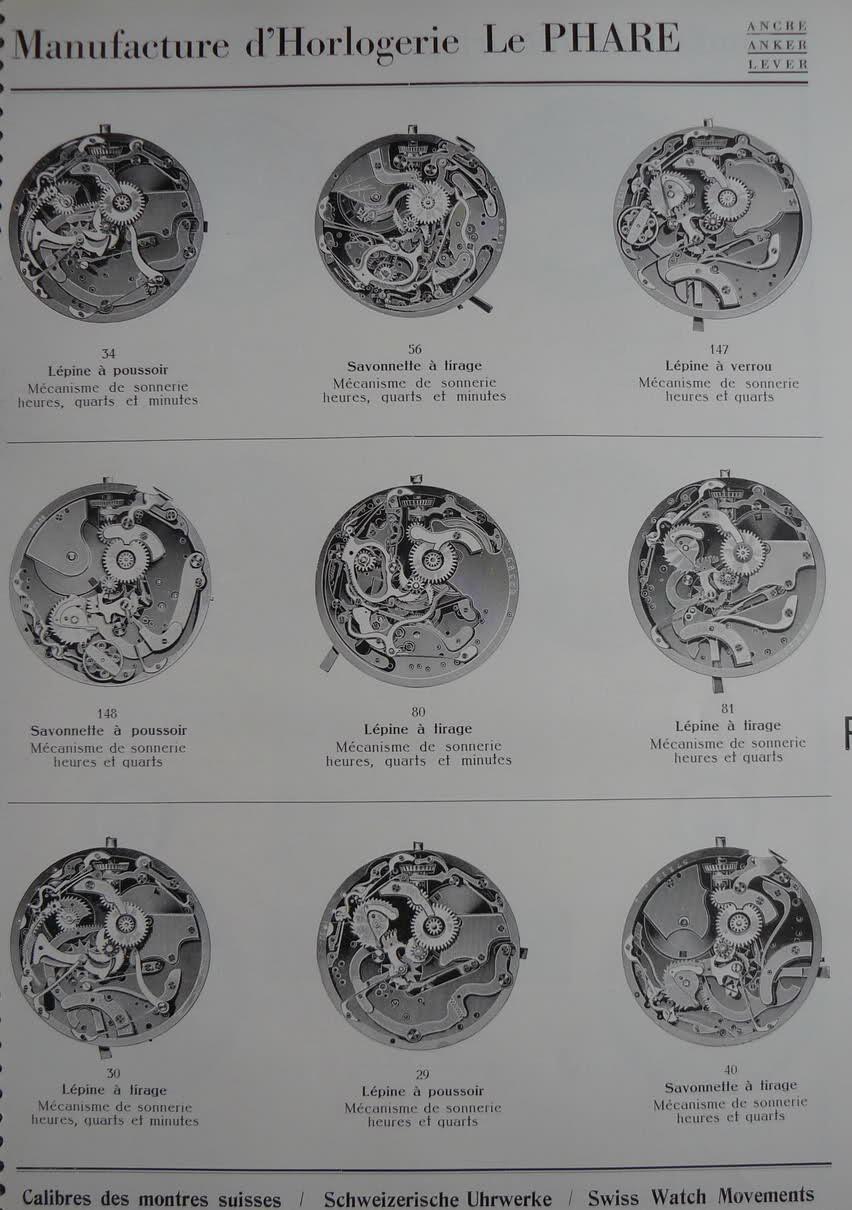 Calibres Le Phare Extrait de la Classification Horlogère 1936 2vkhrtc